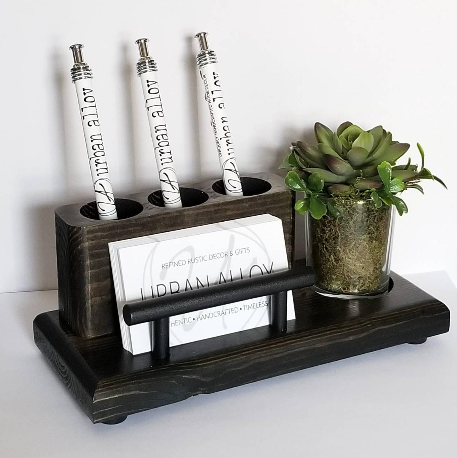 Wood Pen and Business Card Holder With Succulent Planter