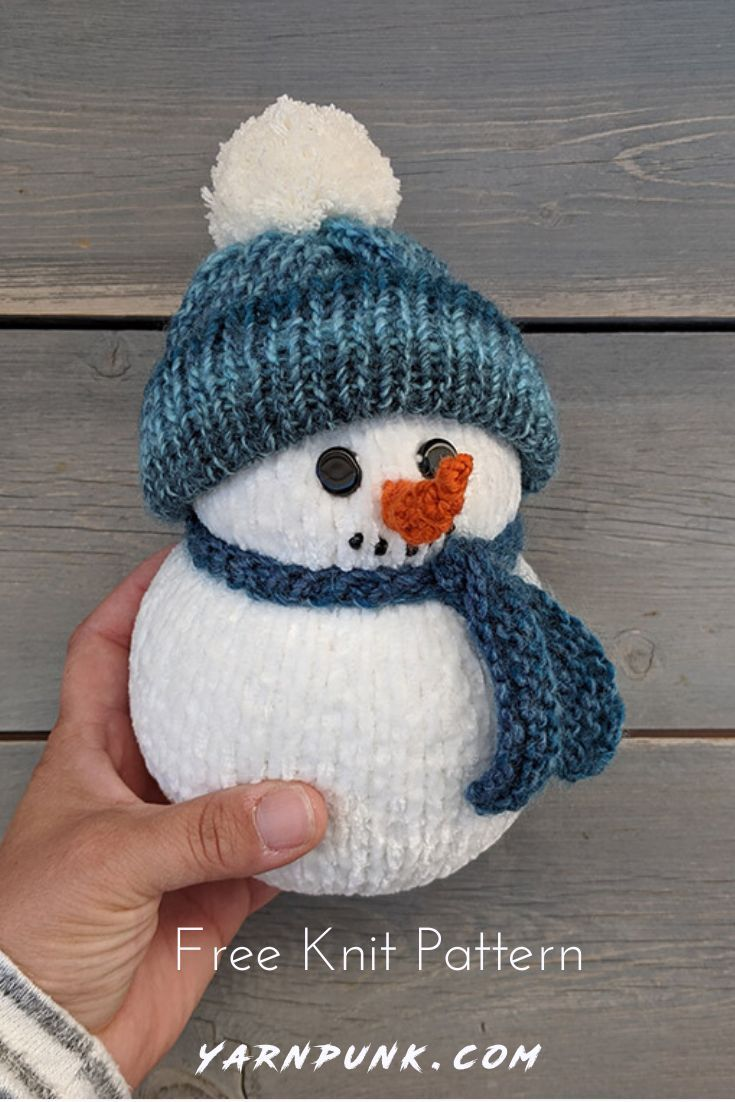 DIY your own holiday snowman home decor. Easy Knitted snowman that can be made u...