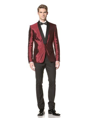 65% OFF Versace Collection Men\'s Satin Jacket (Bordeaux)