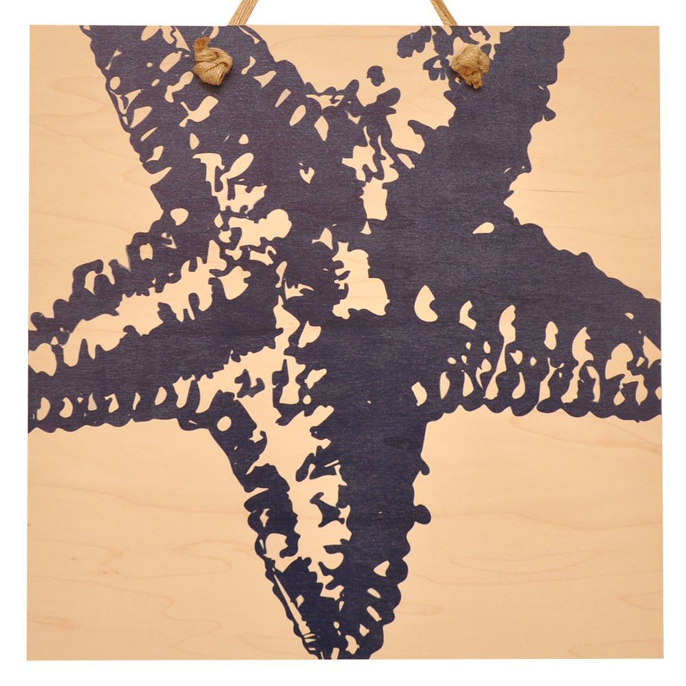 Starfish silhouette blue wood wall art products pinterest wood