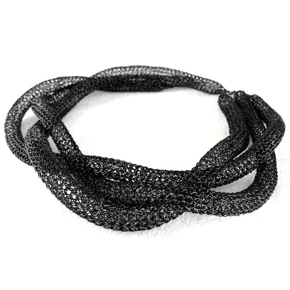 Wire crochet necklace, Black TUBE necklaces. wire crocheted jewelry ...