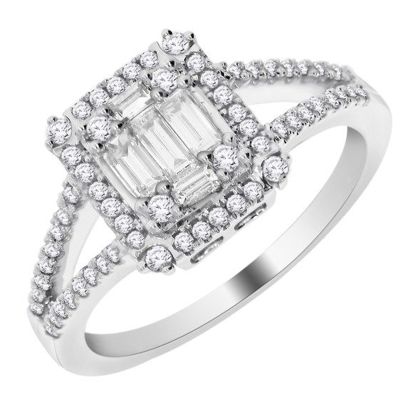 Amazing  Kt White Gold Emerald Shape Illusion Ring Wholesale DiamondsDiamond Engagement