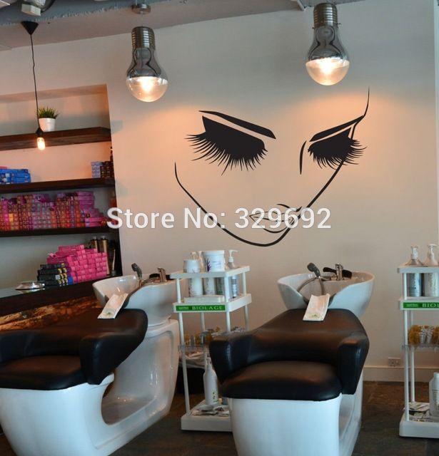 73691eaa2 Moda removível Home Decor Da Parede do Vinil Da Arte Decalques Adesivo  Cílios Beleza Spa Salon Etiqueta Mulheres Rosto Olhos Decalque