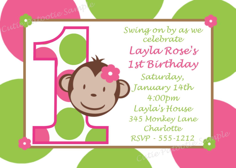 Monkey Birthday Invitation Mod Monkey Birthday Party Invitation Pink and Green Girls Printable. $15.00, via Etsy.