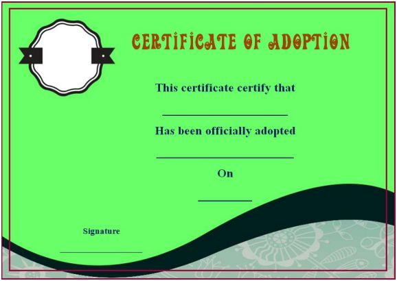 Blank Adoption Certificate Templates  Blank Adoption Certificate