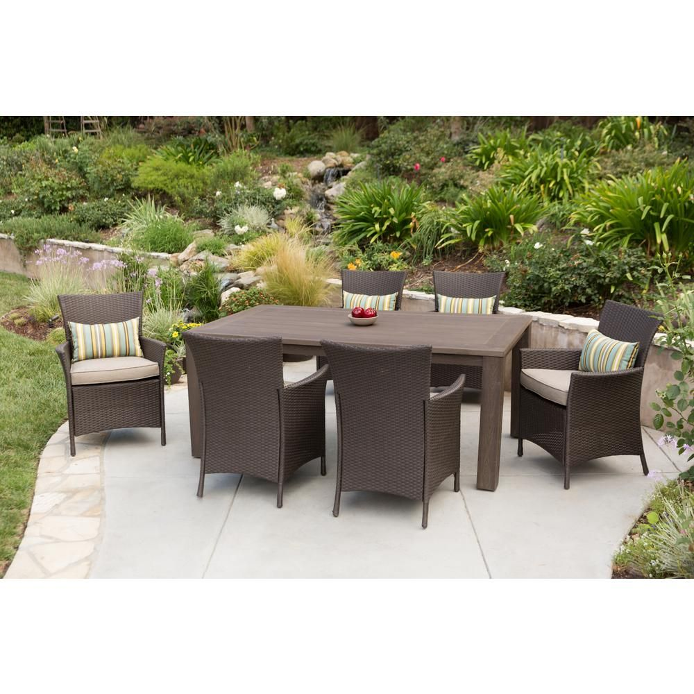 Hampton Bay Tacana 7-Piece Wicker Outdoor Dining Set With