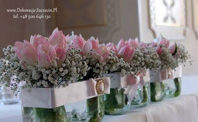 Dekoracja ślubna Tulipany I Gipsówka Gipsówka W Dekoracjach