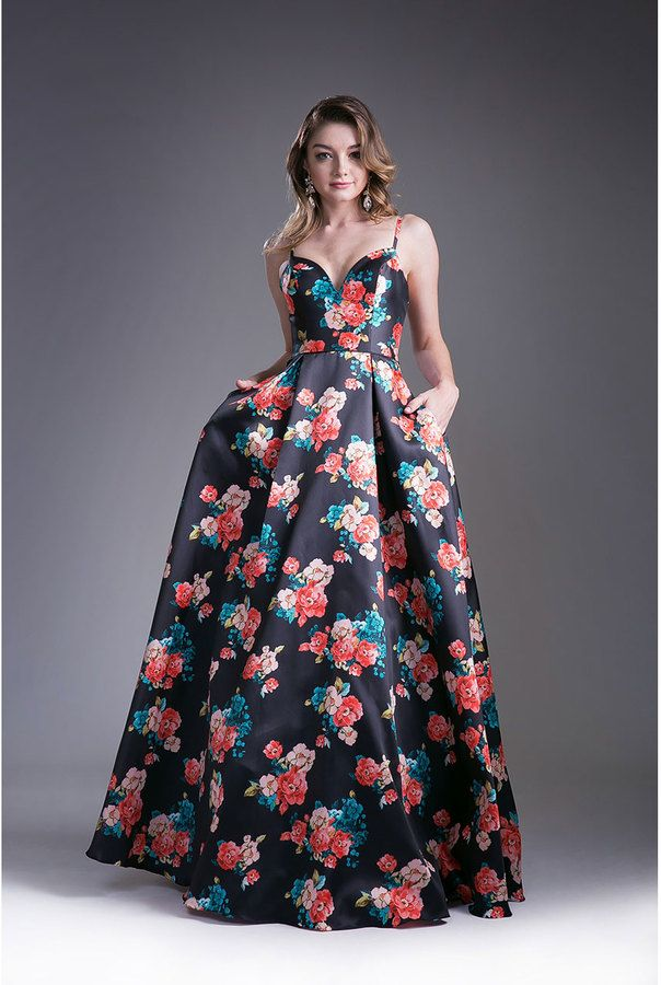 Black Fl Print Y Ball Gown With Pockets Sponsored Affiliate