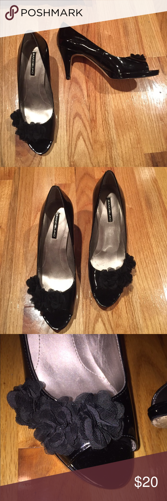 LOVELY black Patton leather look peep toe heels LOVELY Bandolino black Patton leather look peep toe heels. BEAUTIFUL shear rose design. Preloved and still in great condition. Bandolino Shoes Heels