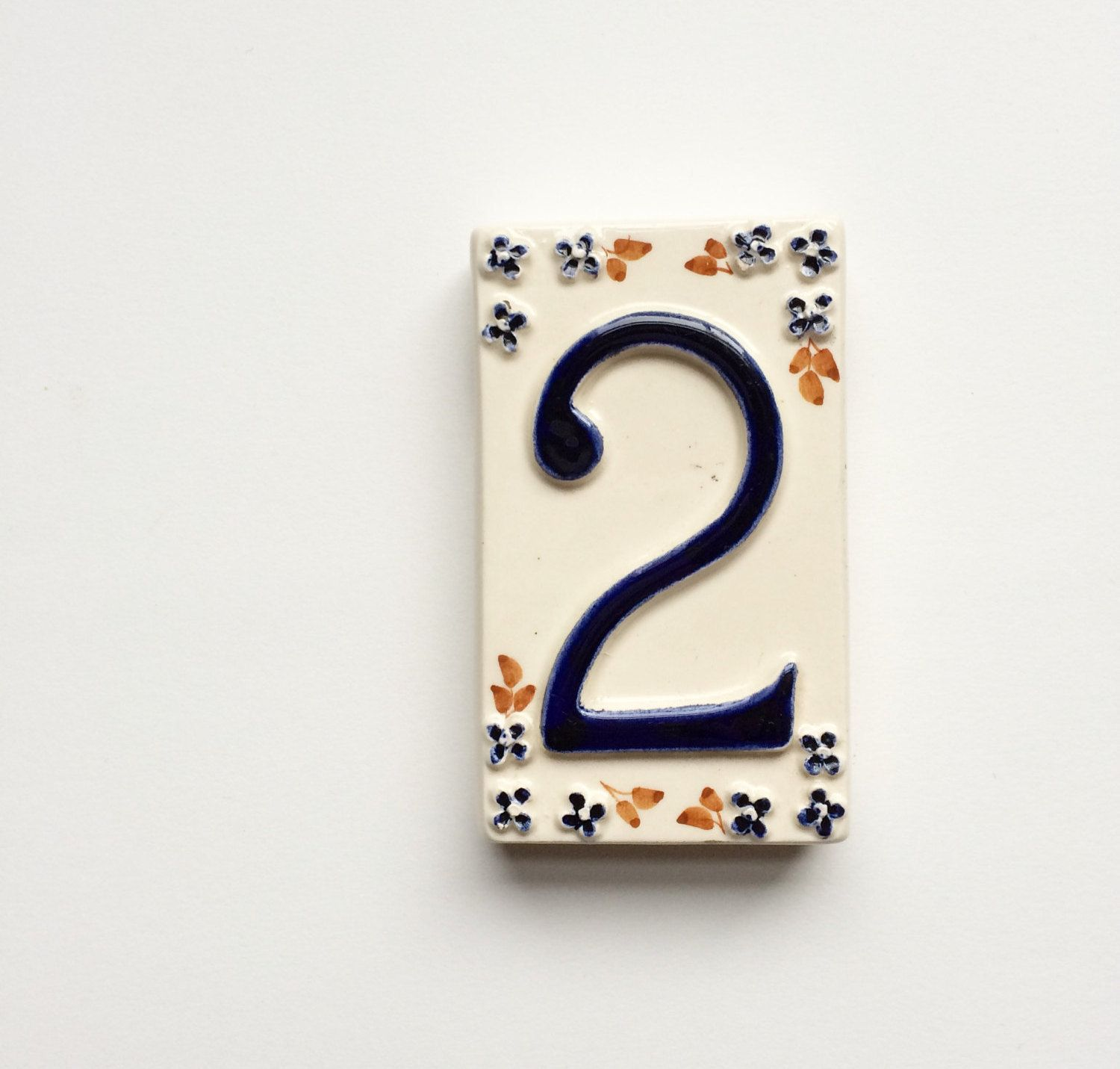 Vintage ceramic tile number 2 two house pottery shabby chic vintage ceramic tile number 2 two house pottery shabby chic dailygadgetfo Choice Image