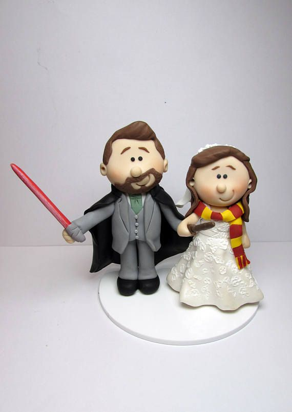 Starwars and harry potter wedding cake topper personalised bride starwars and harry potter wedding cake topper personalised junglespirit Images