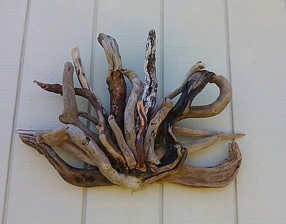 Driftwood Wall Sculpture Sunburst Unique Rustic Natural Wood