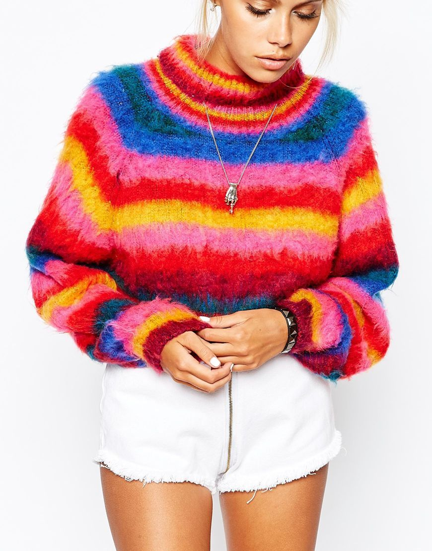 4090668ef36 Image 3 of UNIF Chunky Fluffy Cropped Jumper In Rainbow Stripes ...
