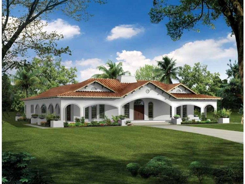 Spanish Revival House Plan with 2539 Square Feet and 3 Bedrooms from