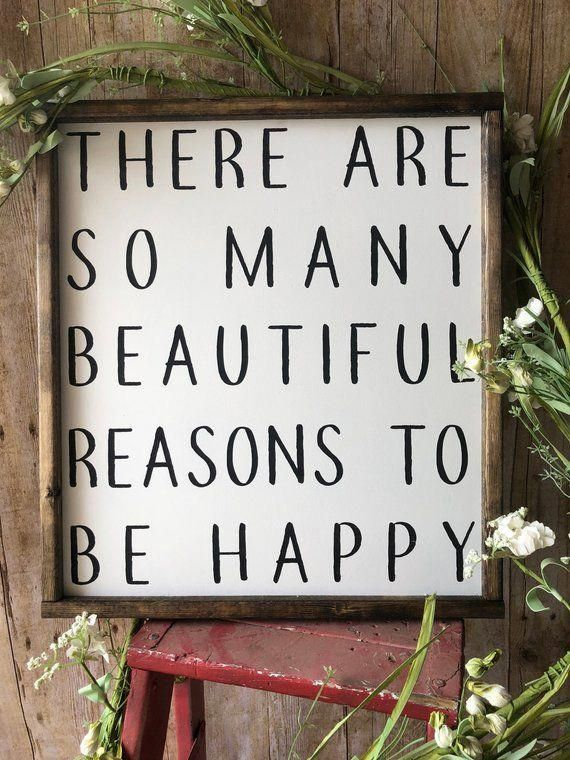 Signs With Quotes | Farmhouse Decor | Signs For Home | Farmhouse Signs | Master Bedroom Decor | So Many Beautiful Reasons To Be Happy Sign