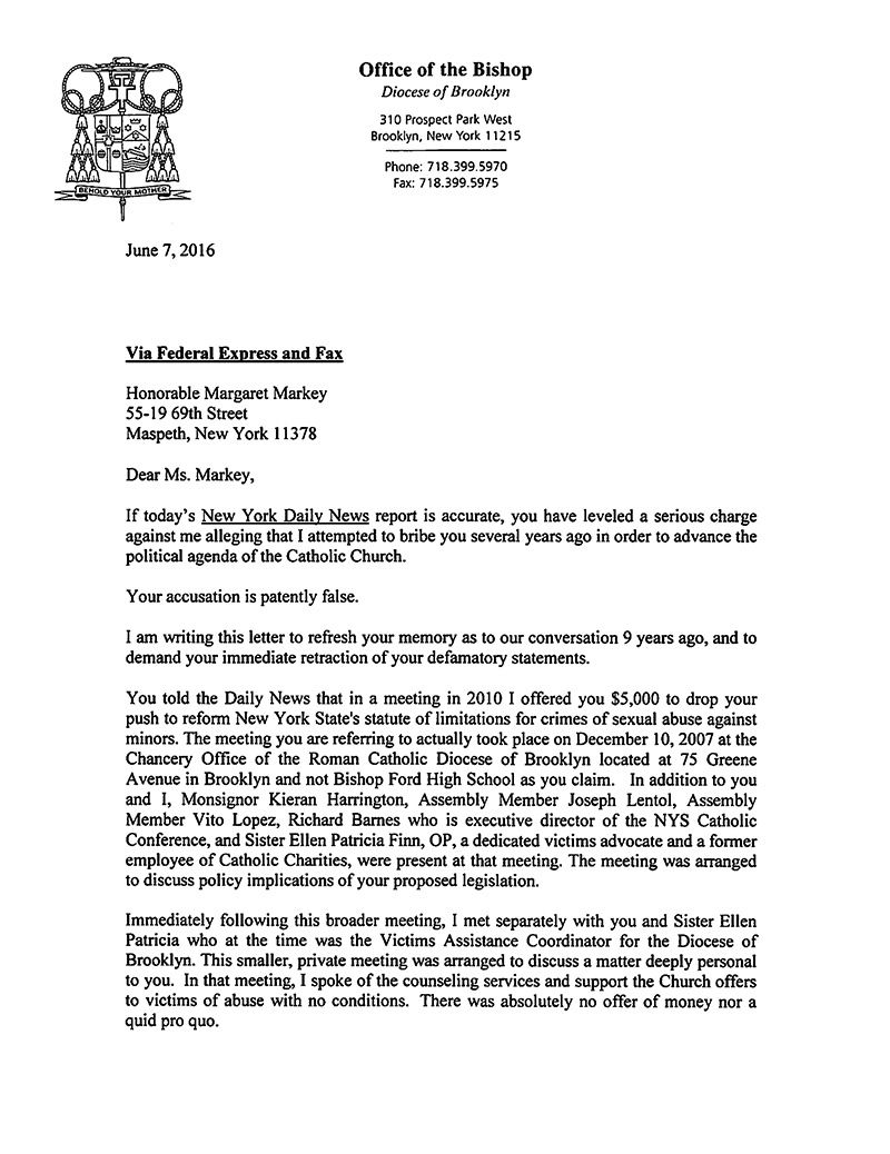 Letter From Bishop Nicholas Dimarzio Honorable Margaret Markey