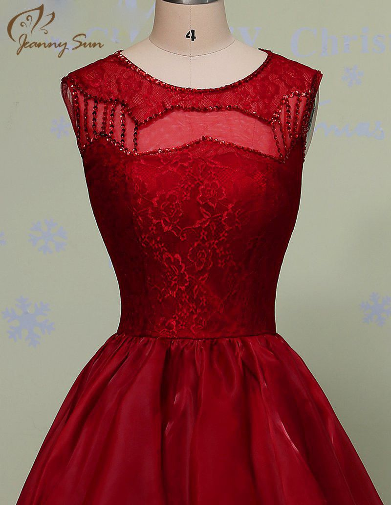 Wine red short evening dress vestido de festa longo new