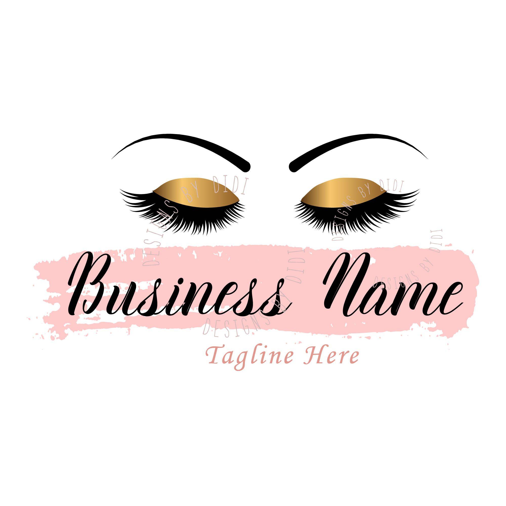 Lash pink gold logo design, pink lash watermark, pink eyelash logo
