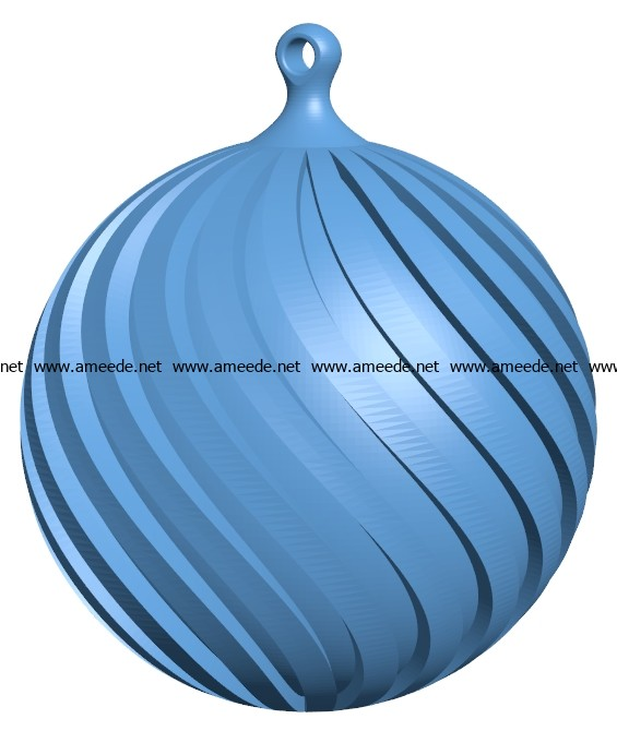 Christmas Ball Twisted B003031 File Stl Free Download 3d Model For Cnc And 3d Printer Download Files Stl In 2020 Stl Free Download Christmas Balls