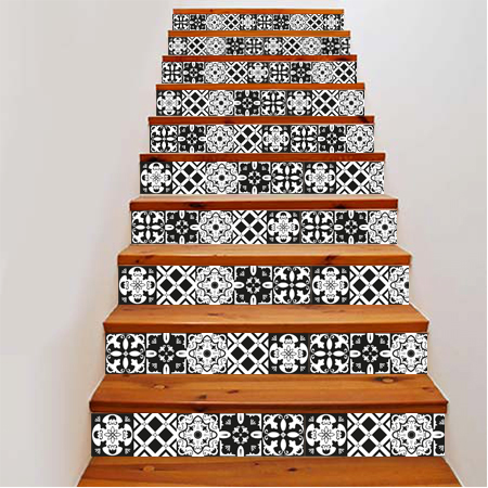 stickers escalier carreaux de ciment noir et blanc stickers malin stickers escalier. Black Bedroom Furniture Sets. Home Design Ideas