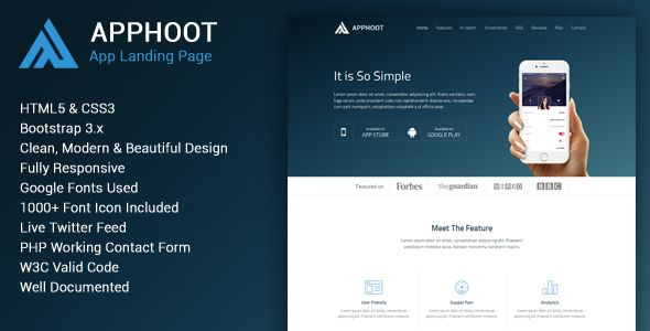 Apphoot Responsive App Landing Page Template Template User - Html5 web page template