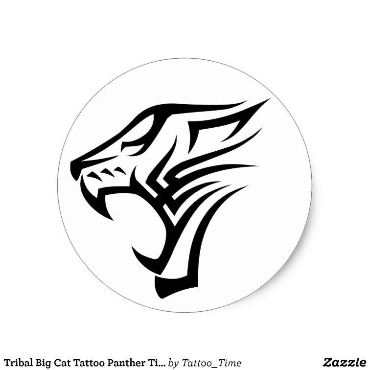 Tribal Big Cat Tattoo Panther Tiger Leopard Classic Round Sticker