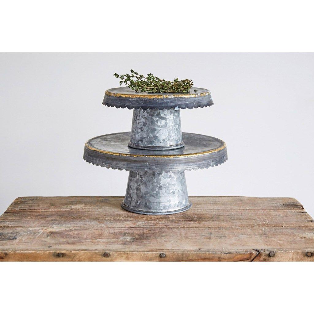 Decorative galvanized pedestals set of 2 cracker