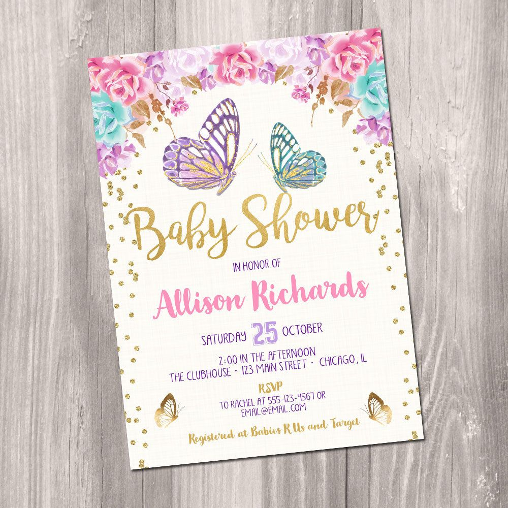 Butterfly baby shower invitation, butterfly invitation, watercolor ...