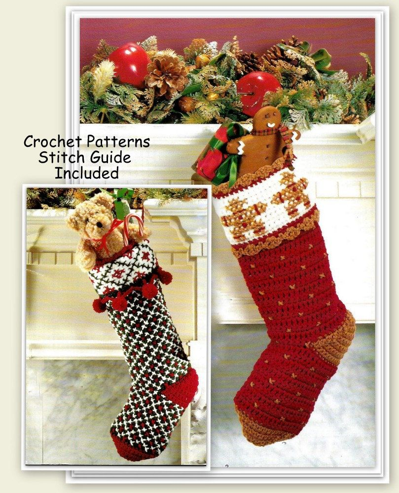 Crochet Christmas Stocking Patterns - 2 Different Designs - PDF ...