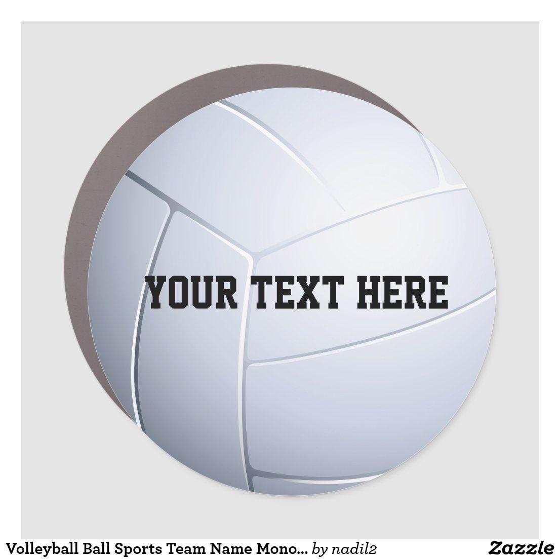Volleyball Ball Sports Team Name Monogram Car Magnet Zazzle Com Team Names Sports Team Car Magnets [ 1106 x 1106 Pixel ]