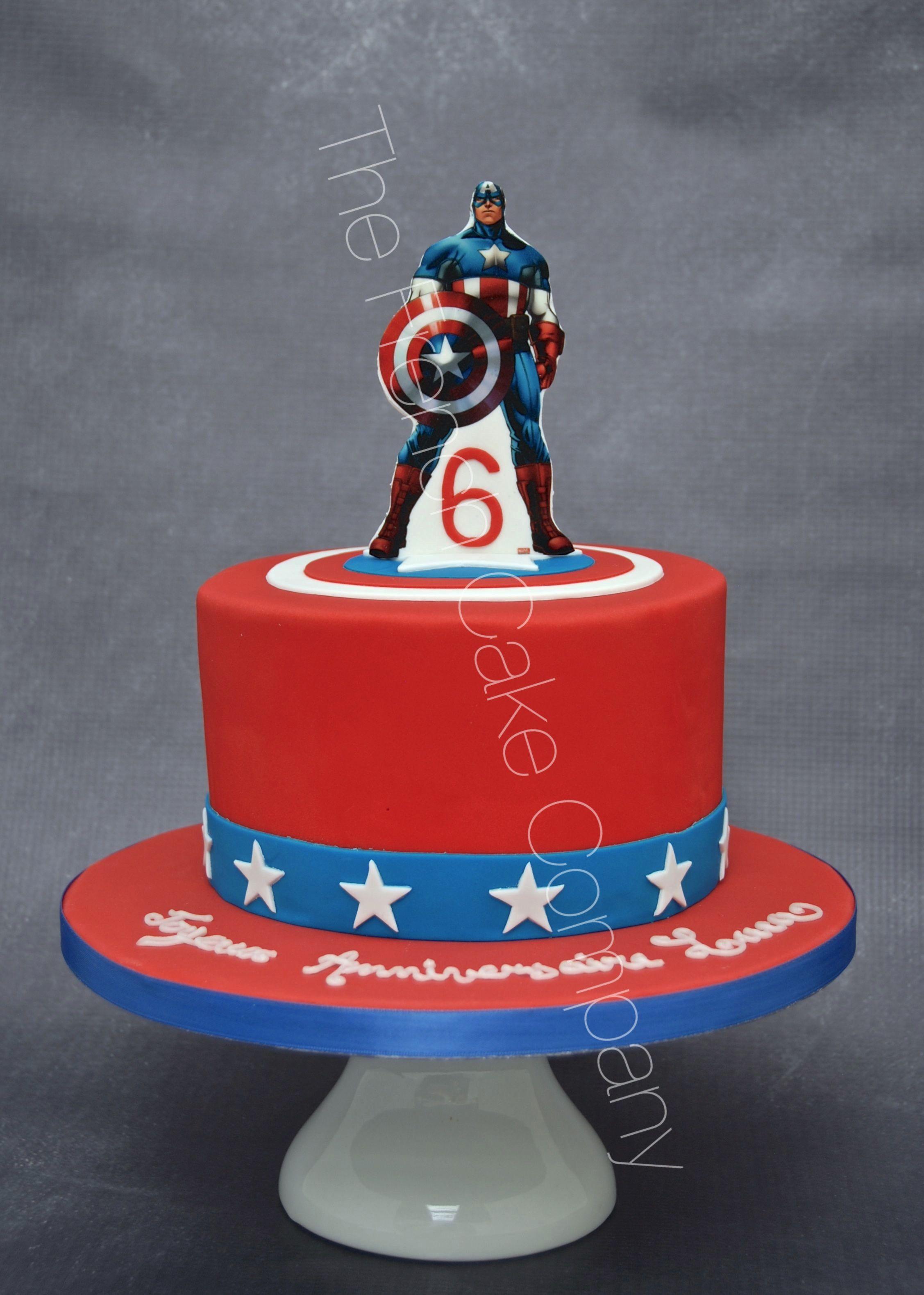 gteau danniversaire dcor thme hros marvel captain america photo imprime sur du papier - Gateau Super Heros