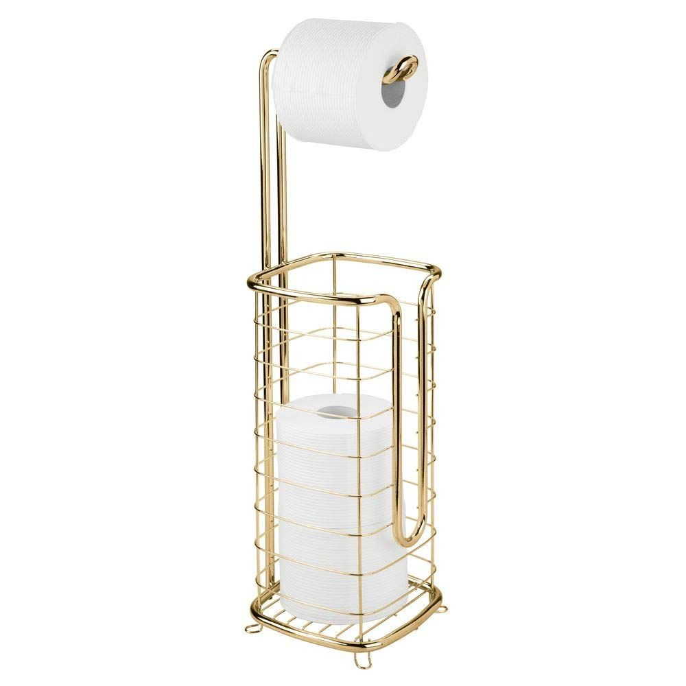 Mdesign Free Standing Toilet Paper Holder Stand And Dispenser With Storage For 3 Toilet Paper Holder Stand Free Standing Toilet Paper Holder Tissue Paper Roll