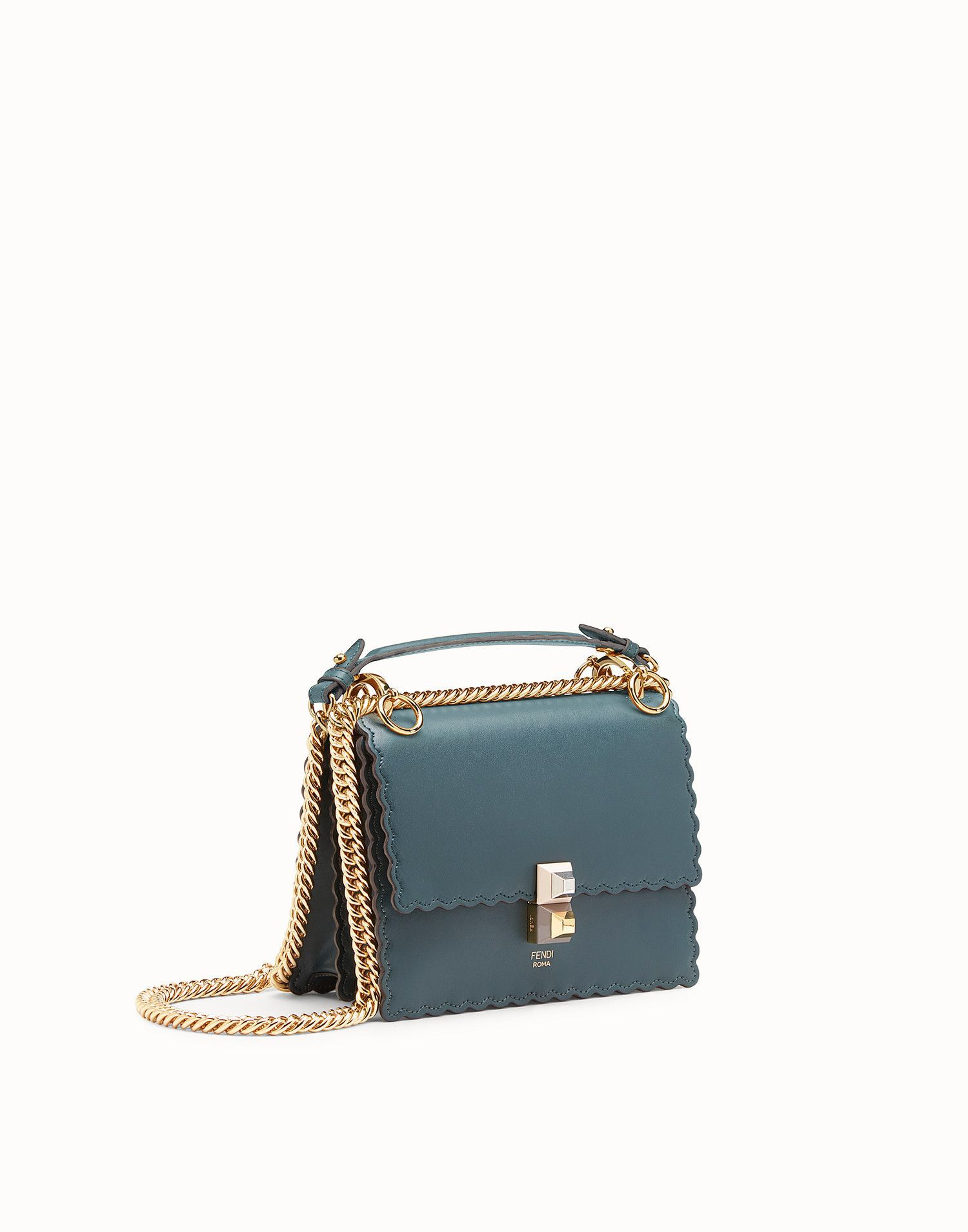 8e88dd85f5 FENDI KAN I SMALL - Green leather mini-bag - view 2 zoom