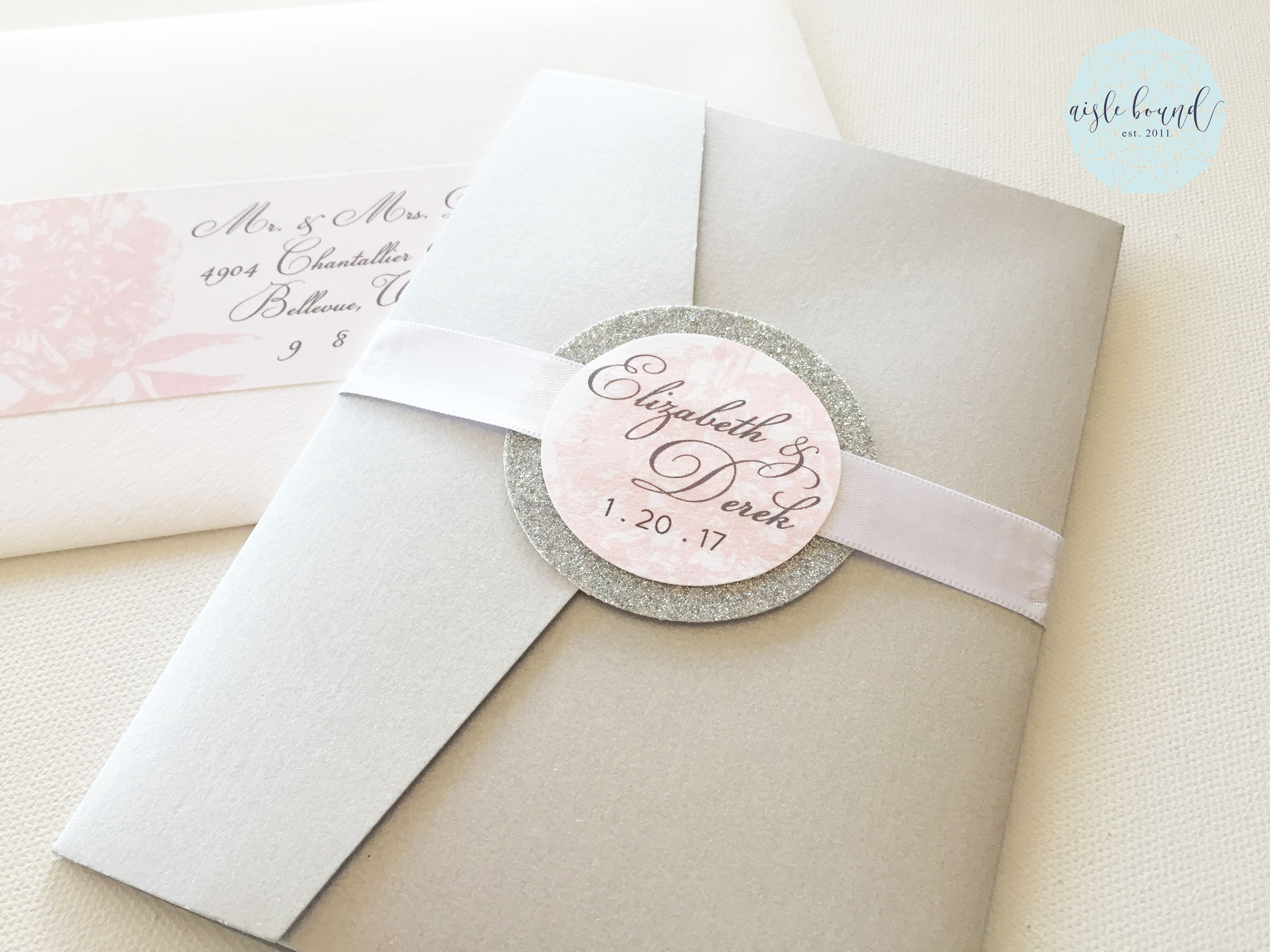 Silver and Blush Pink Pocketfold Wedding Invitations with Silver ...
