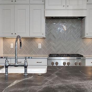 Gray Chevron Kitchen Backsplash Tiles Transitional Kitchen