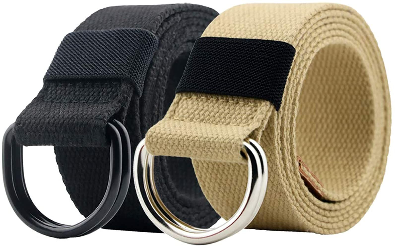 Canvas Belt Military Web Black Belt Women Men With Double D Ring