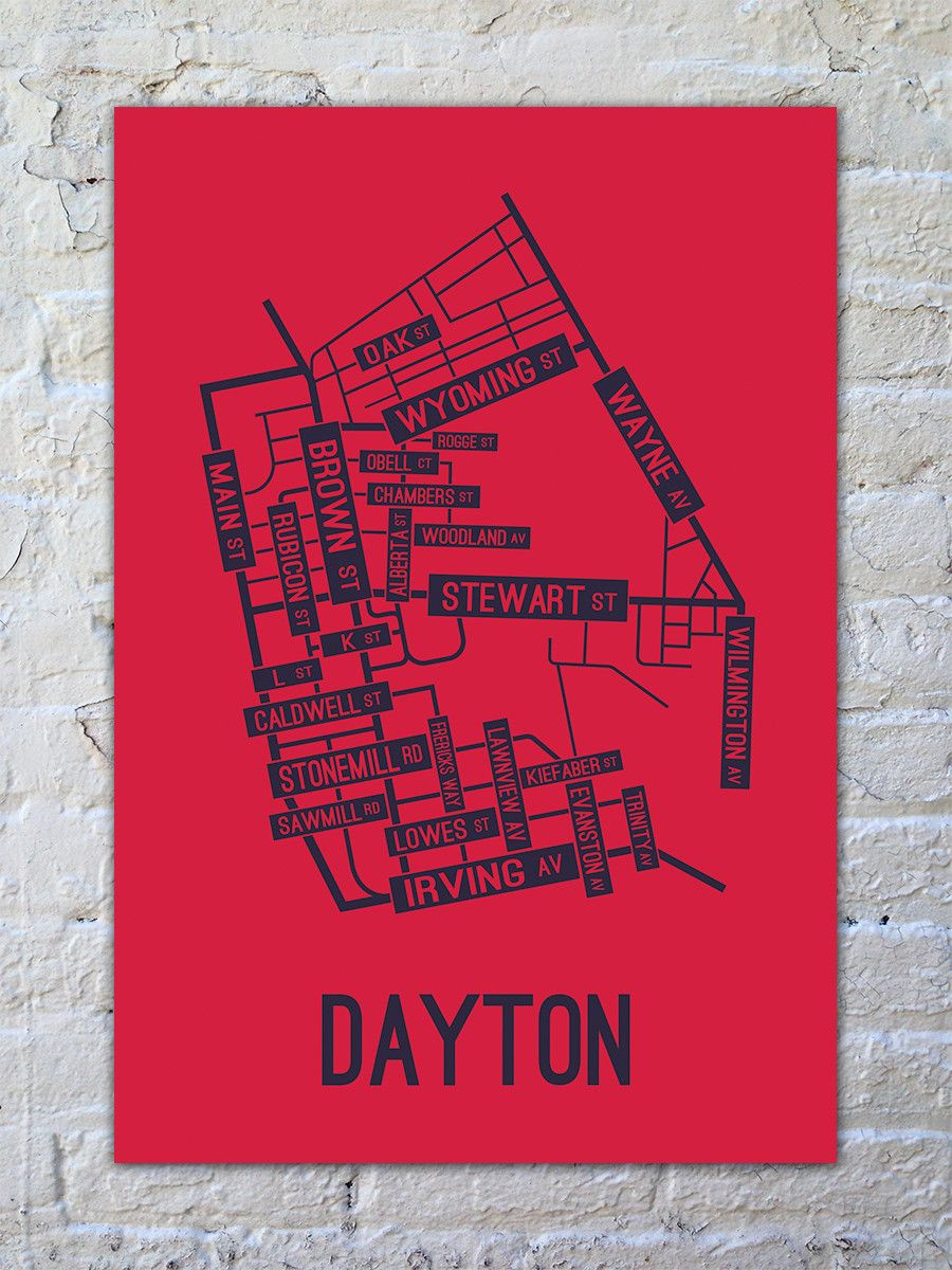 Dayton Ohio Street Map Print Drawings Arts And Crafts Pinterest