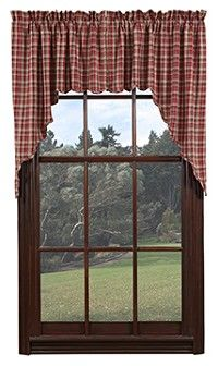 Our Braddock Scalloped Lined Swag Curtains are a brown, barn red, and tan plaid!  They are lined and machine washable.  Coordinate your whole bedroom with our Braddock quilted bedding sold separately.  http://www.primitivestarquiltshop.com/Braddock-Scalloped-Lined-Swag-Curtains_p_6245.html  $23.95