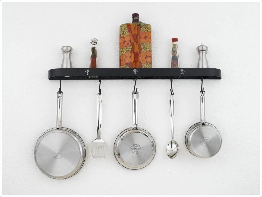 DIY Wall Mounted Pot Rack for Your Kitchen Decor: Wall ...