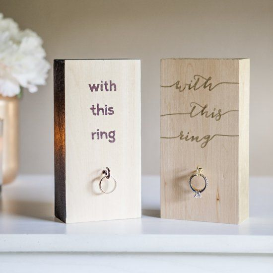 A cute diy on how to make ring holders to keep your rings safe after you have to see this project say goodbye to the wedding ring frame and hello to this modern hand painted wooden block wedding ring holder junglespirit Gallery