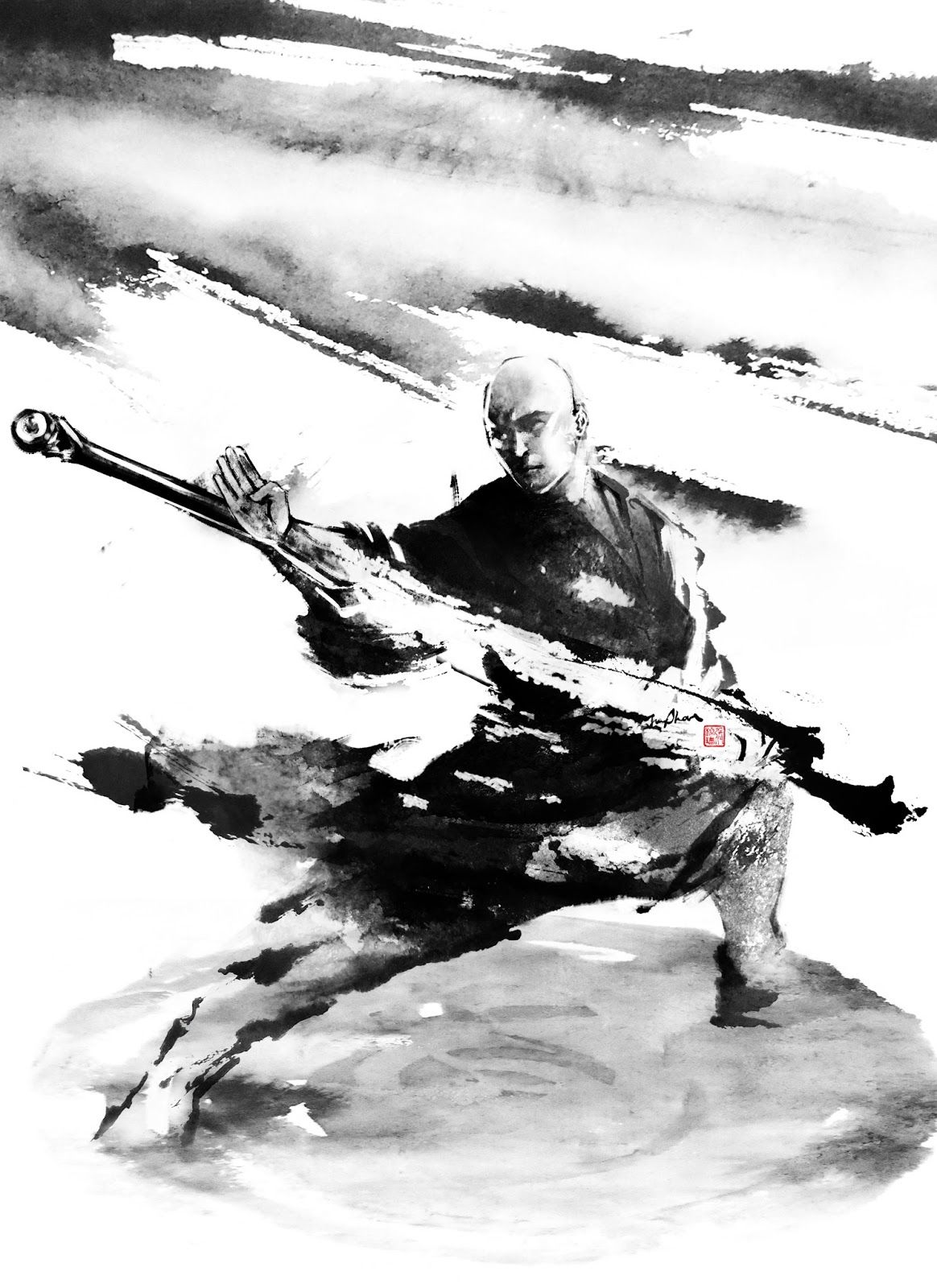 jungshan ink illustration transfert photo sur toile pinterest samourai photos sur toile. Black Bedroom Furniture Sets. Home Design Ideas