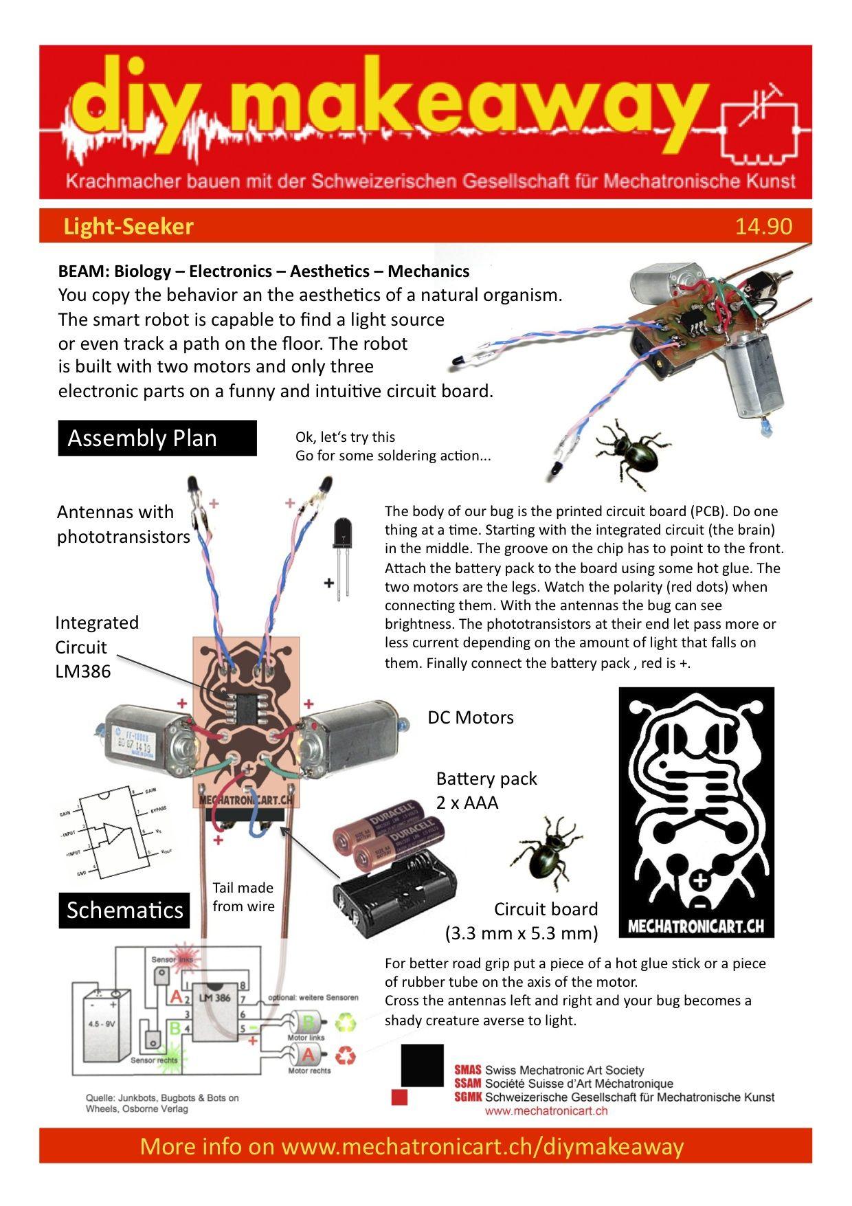 BEAM Light Seeker Herbie Electronics projects diy, Smart