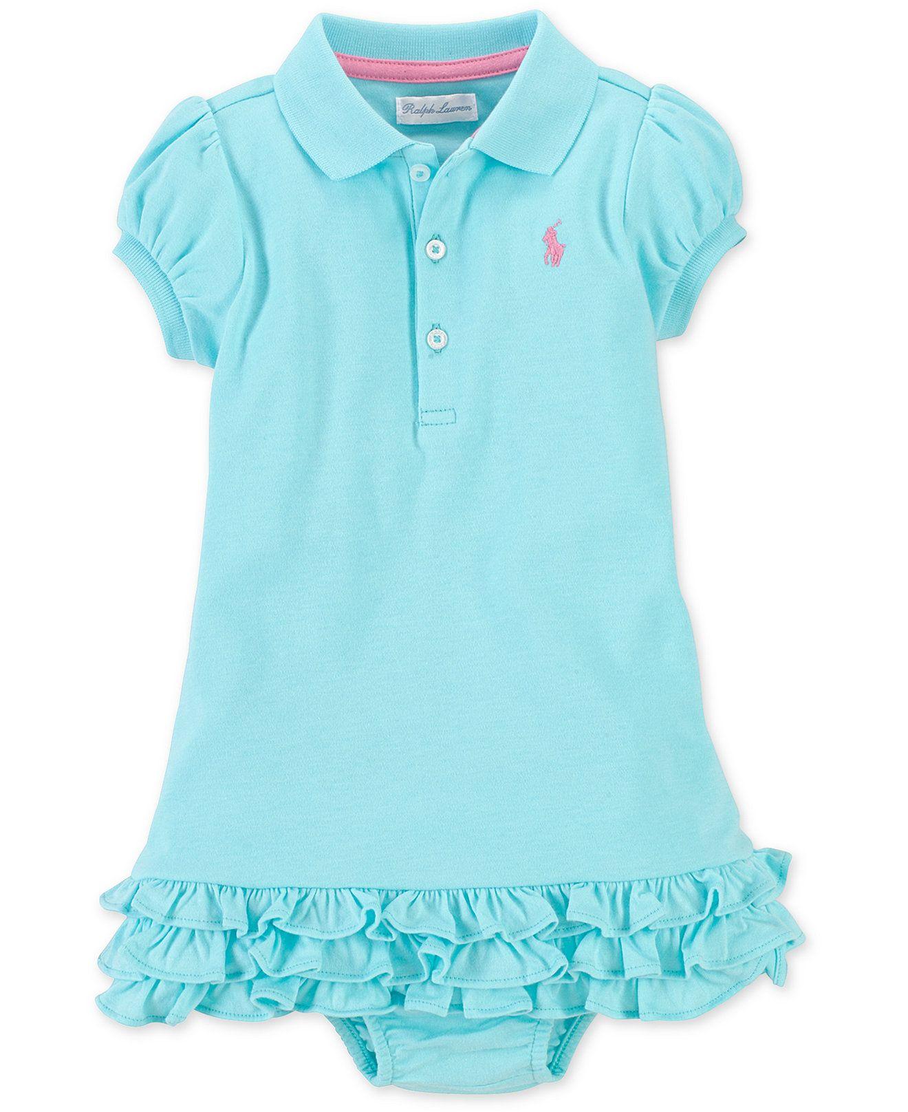 Ralph Lauren Baby Girls Cupcake Polo Dress Kids Baby Girl 0 24