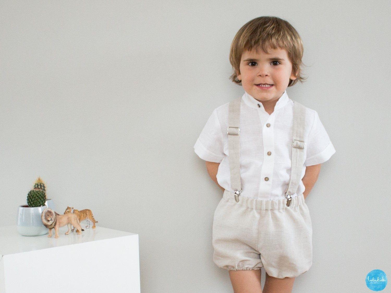 2 teiliges baby jungen outfit: kurze hose hosenträger aus