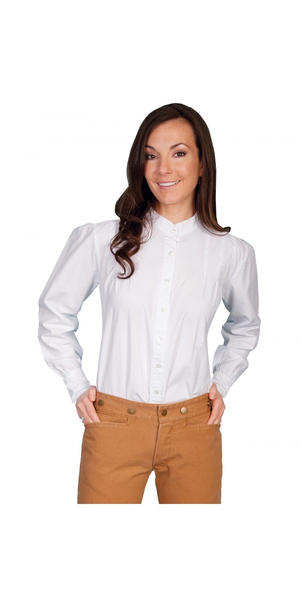 Rangewear western style blouse in white by scully leather features