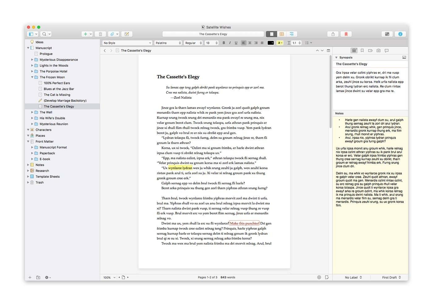 Scrivener's page view. Templates, Elegy
