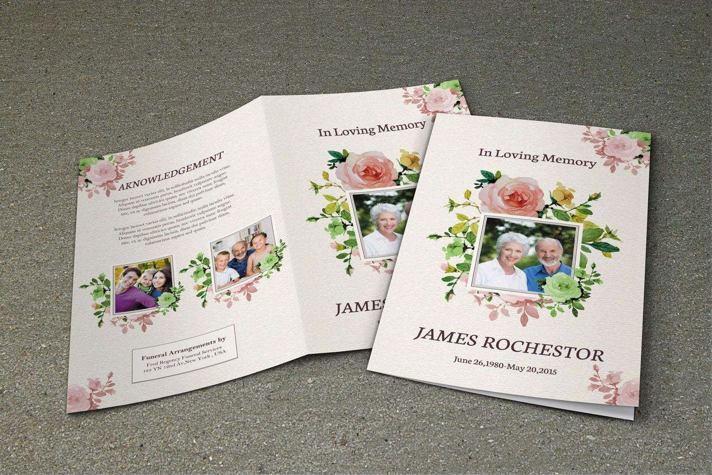 Memorial Funeral Program Template | Obituary Template | Photoshop ...