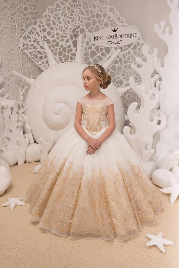 Ivory And Gold Flower Girl Dress Birthday Wedding Party