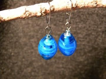 Dark Blue Glass Bead Earrings by MySRCreations for $5.00