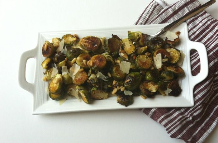 Lemon Roasted Brussels Sprouts with Pine Nuts...saw this tonight, made it tonight, LOVE IT!
